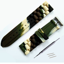 12 14 16 18 20 22 24mm Camouflage Silicone Watchband Rubber Strap Watch Parts Band Buckle + Tool