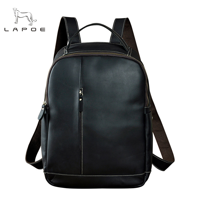 LAPOE New Large Travel Backpack Teenagers School Book Bag Cowhide Genuine Leather Male Leisure Bag Men Laptop 14 Backpack men original leather fashion travel university college school book bag designer male backpack daypack student laptop bag 9950