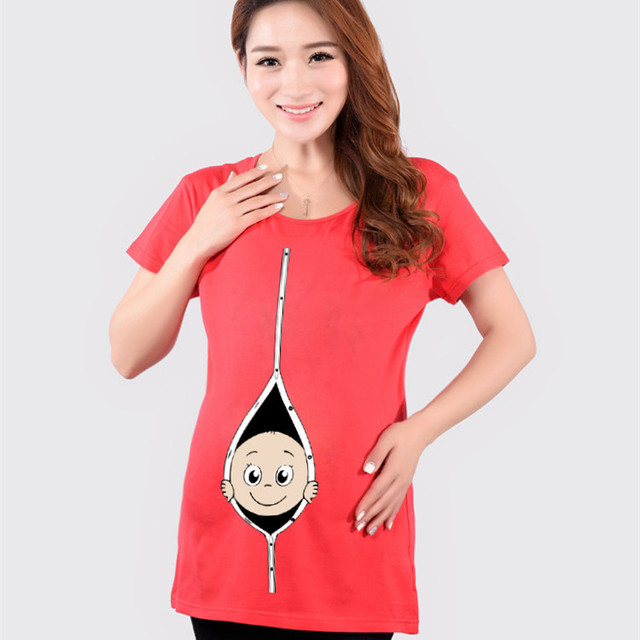 738fbe2f3206d New Simple Casual Cotton Maternity Tops Summer Funny Pregnancy T-shirts  Cute Baby Printed Clothes