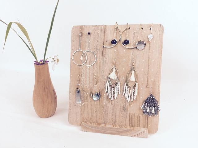 Vintage And Brief Solid Wood Earrings Display Holder Drop Stud Board