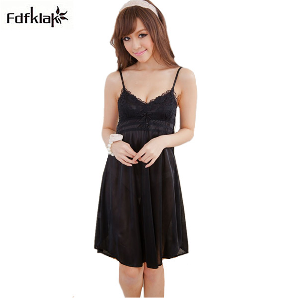 New Womens dresses spring autumn casual sleepwear woman lace skirt faux silk female nightgown dressing gowns for women Q787