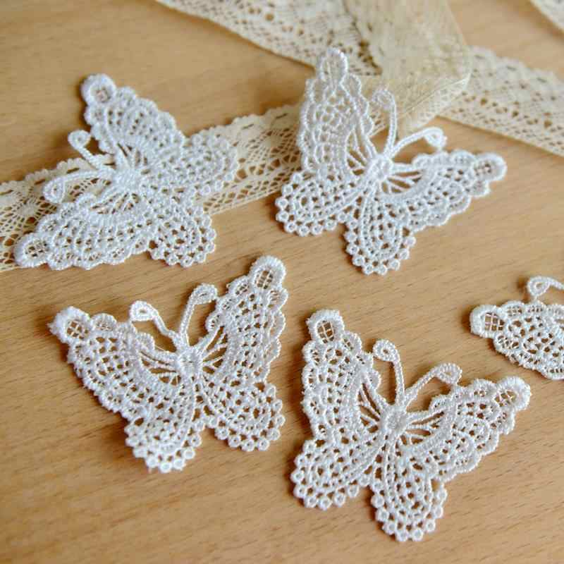 Lace clothing accessories exports fine white bow soluble lace embroidery 6.5cm*5cm hot sale