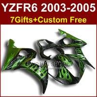 FR зеленое пламя кузов для YAMAHA R6 обтекатель комплект 03 04 05 обтекатели YZF R6 2003 2004 2005 Мотоциклов наборы H6Y