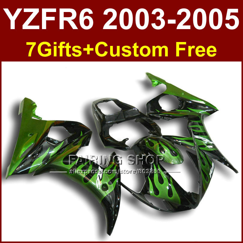 FR green flame bodywork for YAMAHA R6 fairing kit 03 04 05 fairings YZF R6 2003 2004 2005 Motorcycle sets H6Y hot sales yzf600 r6 08 14 set for yamaha r6 fairing kit 2008 2014 red and white bodywork fairings injection molding