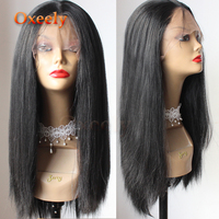 Oxeely Synthetic Lace Front Wig Yaki Straight Wig with Baby Hair Heat Resistant Light Yaki Silky Straight Hair for Black Women
