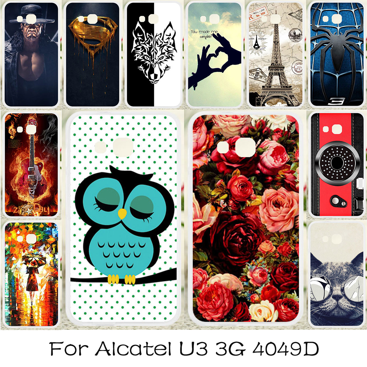 promo code ab13c 47941 US $1.25 21% OFF|TAOYUNXI Soft TPU Case For Alcatel U3 Cases Silicone Cover  For Alcatel U3 3G 4049D Covers Flexible DIY Painted Protective Coque-in ...