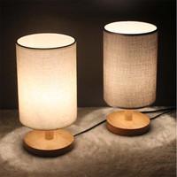 Modern Brief Europe Wood Linen Led E27 Table Lamp Night Light For Restaurant Bar Bed Room