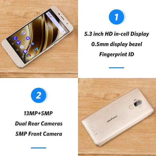 Ulefone S8 Pro Dual Rear Cameras Mobile Phone 5.3 inch HD MTK6737 Quad Core Android 7.0 2GB+16GB 13MP Fingerprint 4G Smartphone