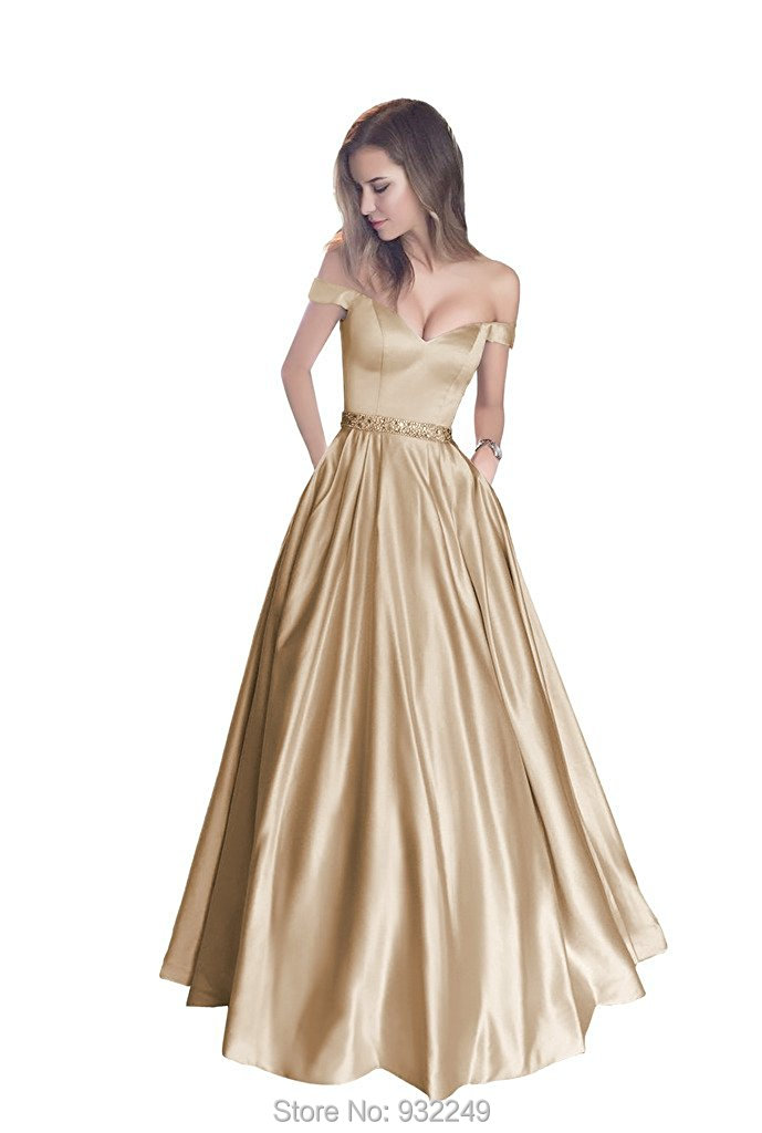 aa2b099e606 Champagne Gold Evening Gowns A Line Long Prom Dresses 2017 Satin Evening  Party Dresses Vestido de Longo