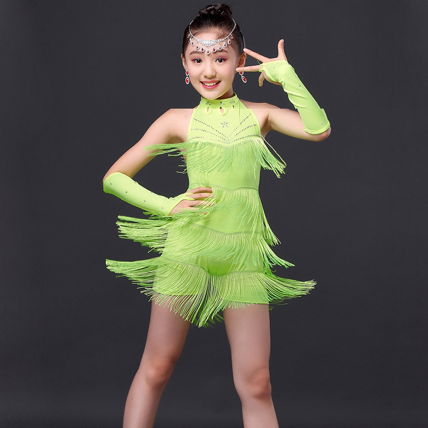 Performance 2016 Children Dance Dresses Outfit With Sleeves Latin Short Fringe Dress In From Novelty Special Use On