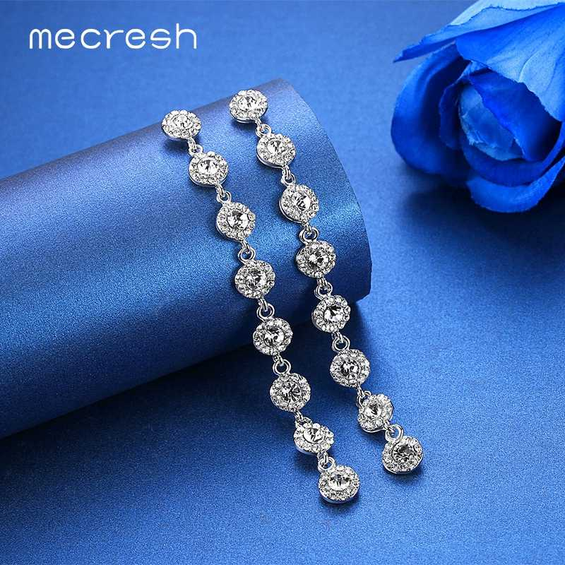 Mecresh Statement Crystal Bridal Long Drop Earrings for Women Silver Color Wedding Engagement Chain Dangle Earrings  MEH1208