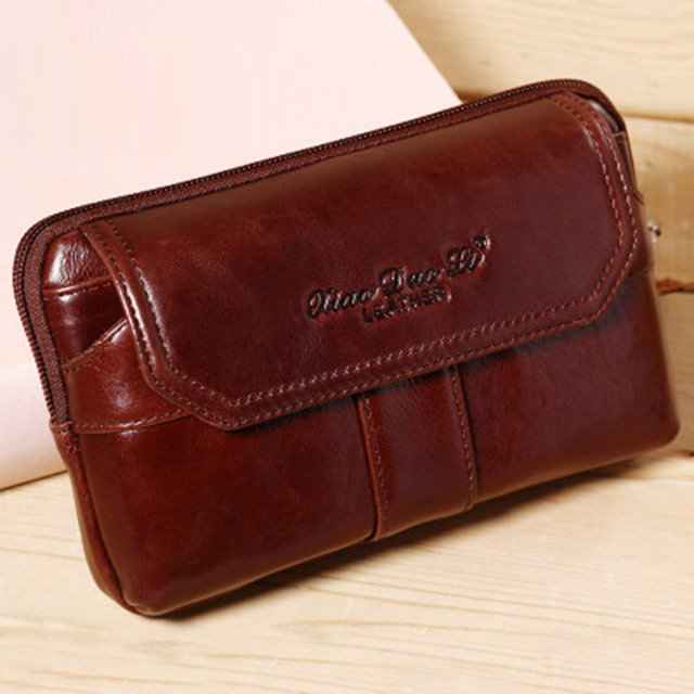 9009fdb7ef0c3 New Men Genuine Leather Oil Wax Cowhide Real Clutch Fanny Waist Pack Coin  Purse Cell/