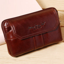 New Men Genuine Leather Oil Wax Cowhide Real Clutch Fanny Waist Pack Coin Purse Cell/Mobile Phone Case Pocket Hip Belt Bum Bag
