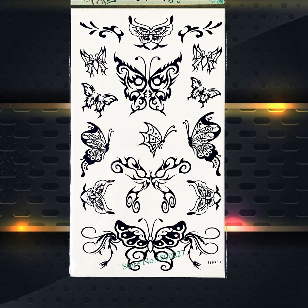 Henna Lace Butterfly Waterproof Temporary Tattoo Stickers Women Fake Flash Body Art ARm Tattoo paste PGF315 Lace Henna Tattoos