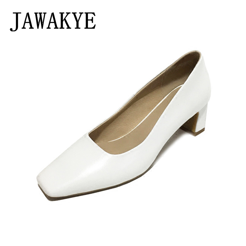 JAWAKYE Low heel Shoes Women Pumps 5 cm Square toe Shallow Mouth Women Office Work Heels Shoes White pink Wedding Shoes Woman korean woman high heel pointed toe solid mujer pumps shallow mouth square heels womens shoes work office lady all match tacones