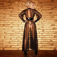 Round Neck Long-Sleeve Sheer mesh PVC Black Faux