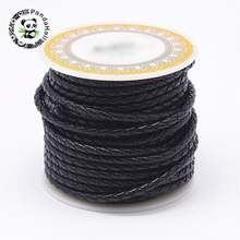 1 рулон черный плетеный кожаный шнур 3 мм 4 5 6 для изготовления