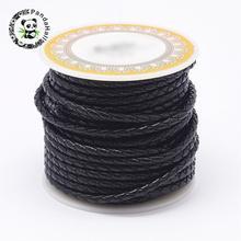 1 rouleau de cordon en cuir tressé noir, couche de tête en cuir de vache, 3mm 4mm 5mm 6mm, pour la fabrication de Bracelet, bricolage, blanc, marron, rouge