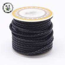 1Roll Black Braided Leather Cord Head Layer of Cowhide 3mm 4mm 5mm 6mm For Necklace Bracelet Jewelry Making DIY White Brown Red