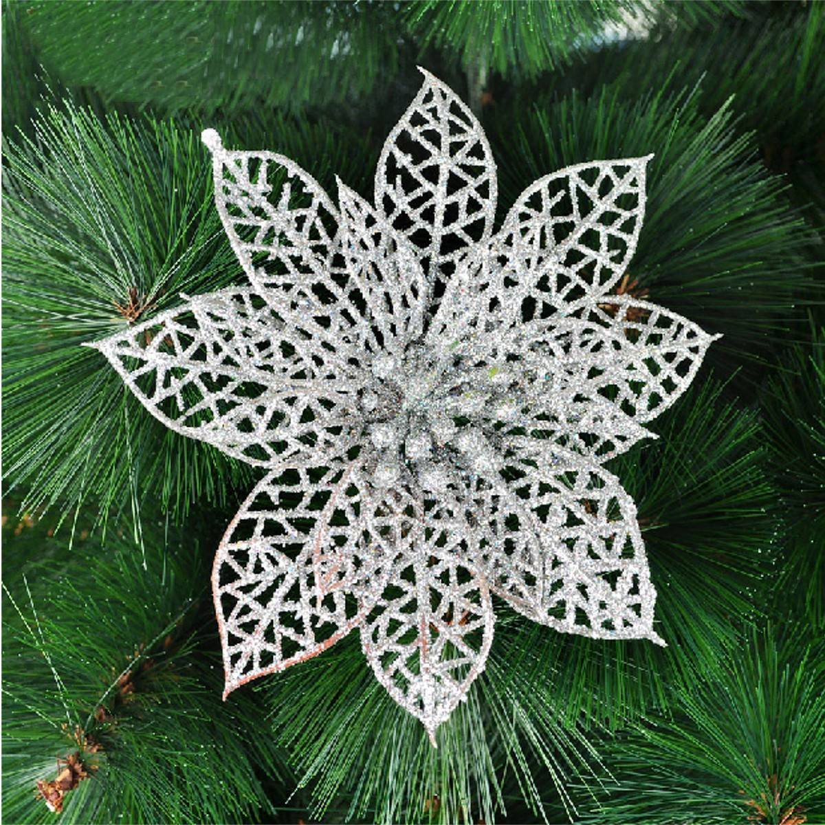 Decoration for Christmas Tree - elegant 13cm Sequin Flowers Suspended with Christmas tree - indispensable decorations Christmas
