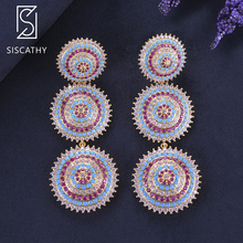 SisCathy Luxury Geometric Round Layers Pendant Cubic Zirconia Drop Dangle Earrings For Nigerian Women Bride Wedding Engagement цена