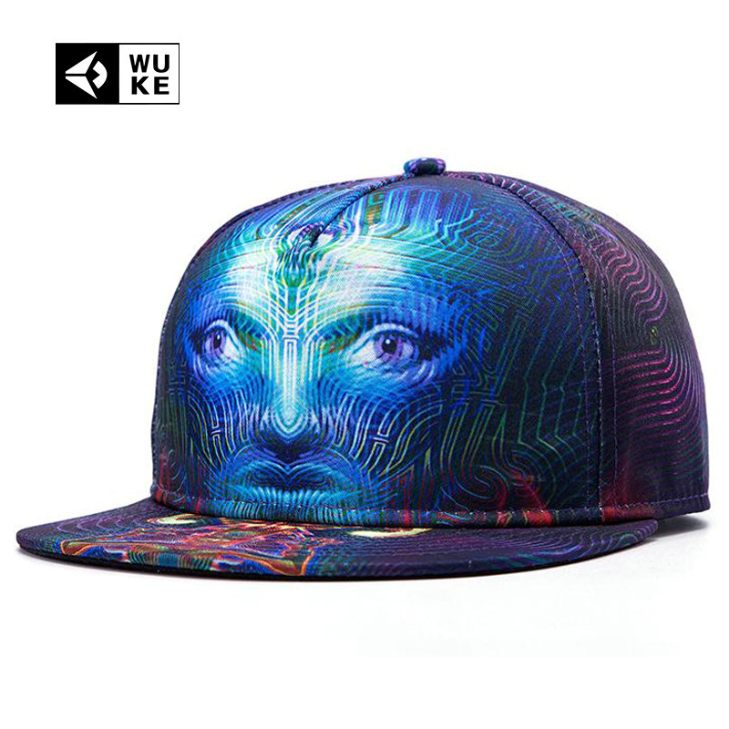[WUKE] Branded Hip Hop Cap For Men Women Bone Baseball Cap 3D Printed Face Pattern 5 Panel Snapback Hat Gorras Planas Casquette