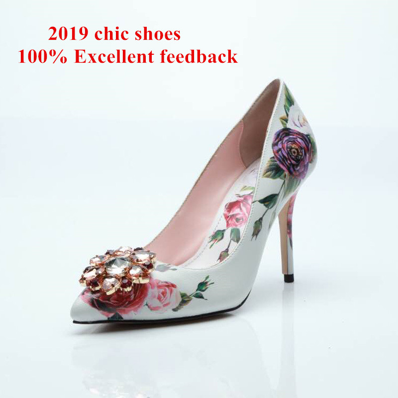 New fashion bridal wedding shoes flower prints slip on pumps women spring autumn shoes thin high heels party dress shoes woman