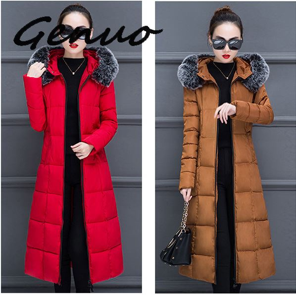 Genuo New winter women hooded coat fur collar thicken warm long jacket female 3XL outerwear   parka   ladies chaqueta feminino 2019