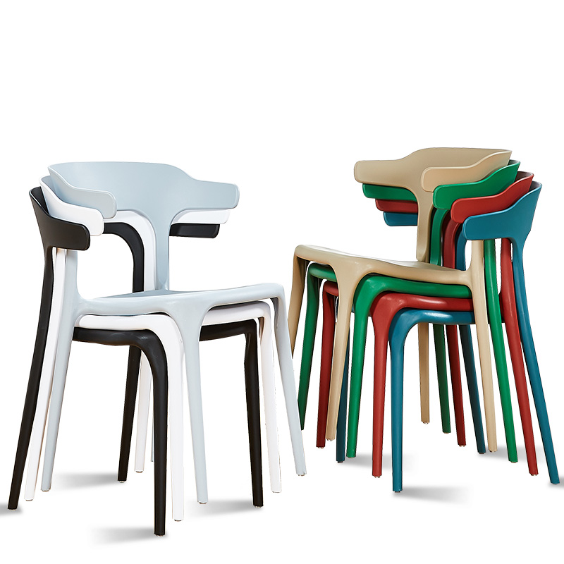 Modern minimalist plastic chair Nordic dining chair home creative dining chairs cafe leisure horn chair