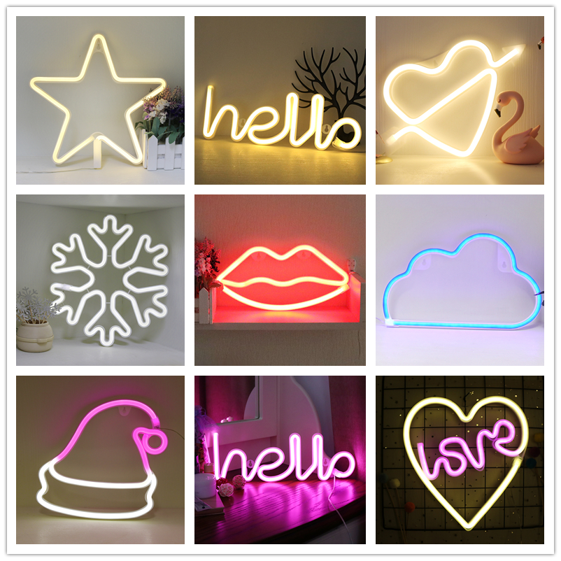 Night Light Neon Lights For Birthday Wedding Party Bedroom Wall Hanging Decor Lighting Night