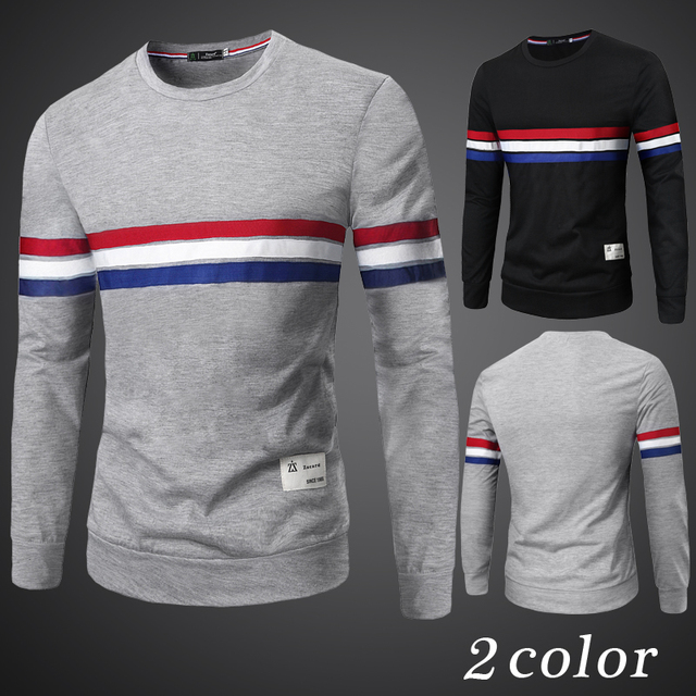 dcb69c705914 Man fashion red white blue stripe printed t shirt long sleeve tight shirts  large elastic slim clothing men tee Autumn T shirt