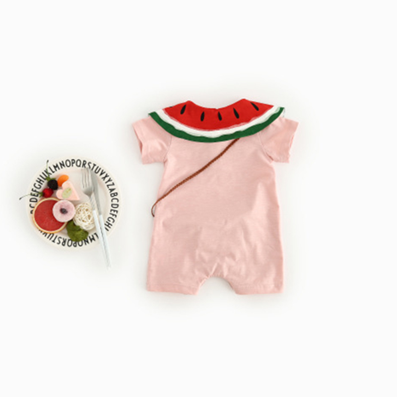 Summer short sleevele baby clothes O neck Cotton newborn girls jumpsuit Bodysuit baby clothing Infant watermelon crawling sets in Rompers from Mother Kids