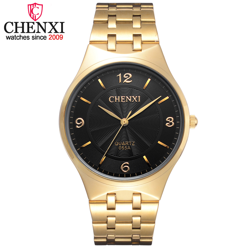 CHENXI Brand Fashion Classic Hot Golden Men Quartz Watches Stainless Steel Watch Male Casual Luxuriou Gift