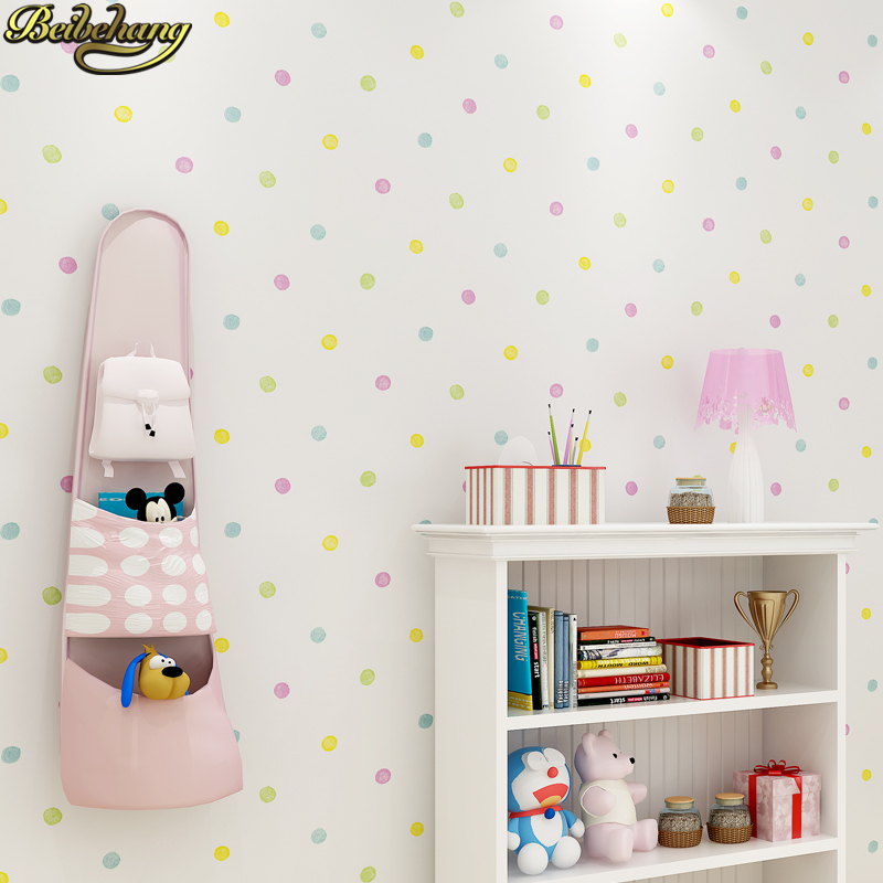 Beibehang Self-adhesive Wallpaper Simple Wallpaper Small Dot Children's Room Boy Girl Bedroom Background Wall Stickers Painting