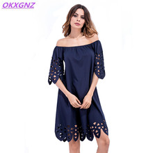 OKXGNZ Heat Sell 2017 Summer Sexy Dress Women's Clothing Hollow Hook Flowers Solid Color Short Sleeve Strapless Lady Dress A373