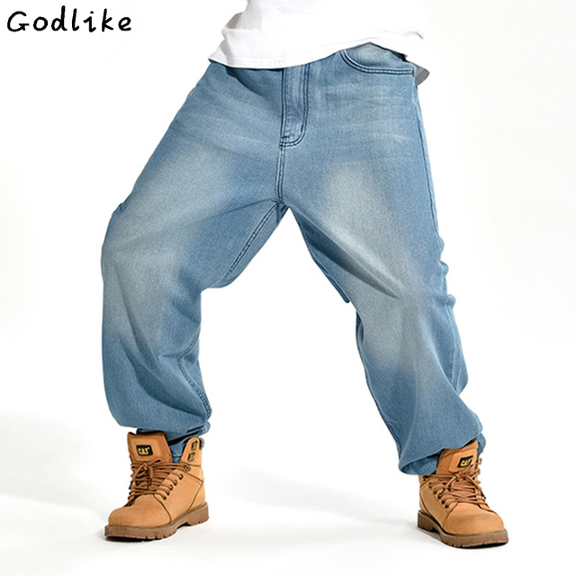 71937817ef7 Loose jeans Men s blue plus size casual Skateboard pants men s baggy jeans  wide leg Hip Hop fat micro male Denim trousers