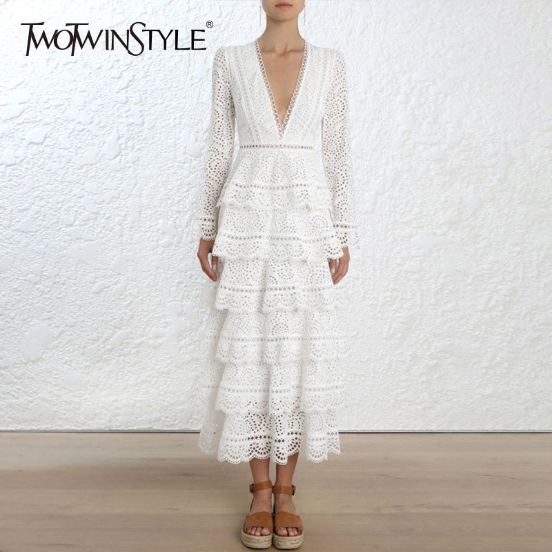 TWOTWINSTYLE Creux Out Robes Pour Femme Dentelle V Cou Taille Haute Ruches Flare Manches Midi Robe Femmes Vintage Automne Vêtements