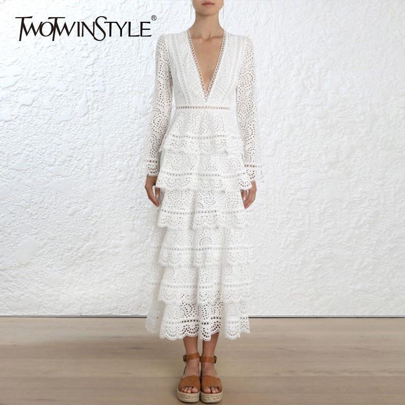 TWOTWINSTYLE Lace Ruffles Midi Dress TDR16477