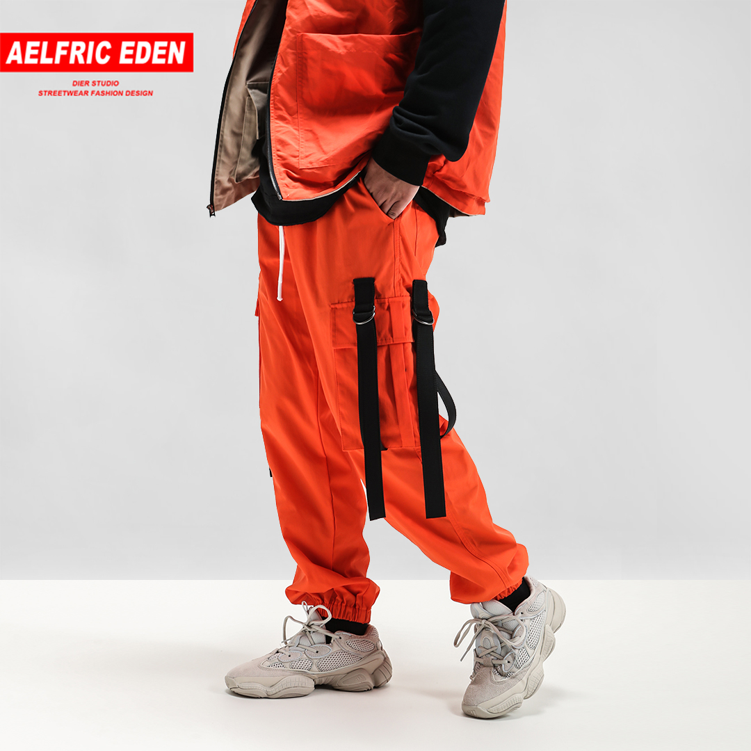 Aelfric Eden 2018 Mens Hip Hop Solid Color Cargo Pants Harajuku Joggers Casual Harem Pants Fashion Ribbons Male Streetwear In06
