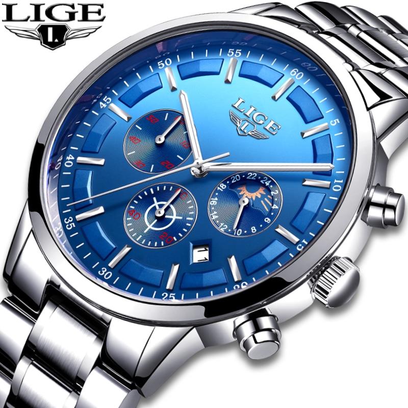 цена на LIGE Mens Watches Top Brand Luxury Business Full Steel Quartz Watch Mens Fashion Sports Waterproof Chronograph Relogio Masculino