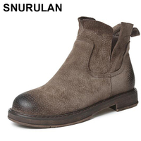 SNURULAN Genuine Leather Women Boots Chelsea Shoes Winter Warm Flats Heel Plus size Short Martin Ankle Boots Brand Females