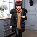 Winter Jacket Girls Coat Long Zipper Down Coat With Real Fur Black Hooded White Duck Down Cute 2016 High Quality Girls Clothing