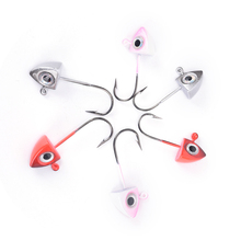 5pcs/lot Fishhooks 3D Eyes Lead Jig Head Barbed Hook Mustad Jigging Hook Fishing Hooks Lead Head Hook 3 Colors 2g 3g