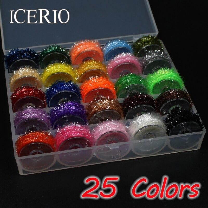 ICERIO 25 Farben 5 mt/reel Fliegenbinden Lametta Chenille Material für Streamer Lockt Kristall-Synchronisation Faser/Flex Hackle Material