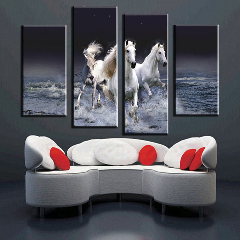 Hot Style Can Be Customized Box 4 Plate Oil Painting Canvas Art Gallery Household Residents Steed Hd Print Posters News In Calligraphy