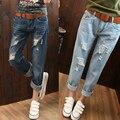 Nuevo estilo de moda de verano de las mujeres los pantalones vaqueros Harlan pantalones vaqueros Delgados agujeros jeans boyfriend jeans vintage de lavado con agua de las mujeres
