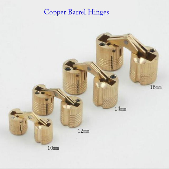 New Arrival 4PCS 10mm Copper Barrel Hinges Cylindrical Hidden Cabinet  Concealed Invisible Brass Hinges Mount Furniture