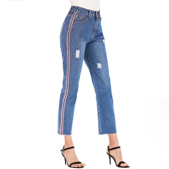 ab0eee804a3 2019 European Ribbon Ripped Jeans Women Jeans High Waist Dark Blue Washed  Straight Pants Female Trousers Women Denim Jeans