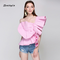 Seamyla New Fashion Summer Blouse 2017 Women Sexy Asymmetry Ruffles One Shoulder Tank Tops Short Style