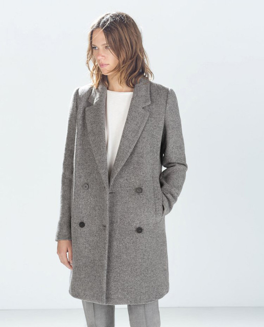78d7f534da7 Manteau femme UK 2018 Spring Autumn Hot sell Classic za Women Double  Breasted Wool Coat casaco feminino Female outerwear